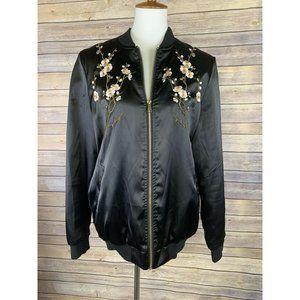 Brave Soul Womens Large Floral Embroidered Jacket